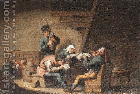 Peasants singing in a cottage by (after) Anthonie Victorijns - Reproduction Oil Painting
