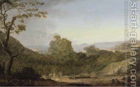 Briton Ferry in Glamorganshire, looking towards The Mumbles by (after) Anthony Devis - Reproduction Oil Painting