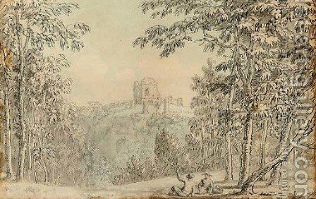 Figures resting before a ruined fortress by (after) Anthony Devis - Reproduction Oil Painting