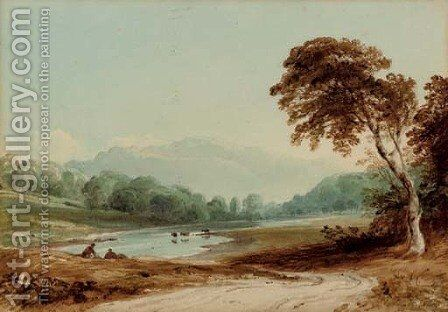 On the Wye by (after) Anthony Vandyke Copley Fielding - Reproduction Oil Painting