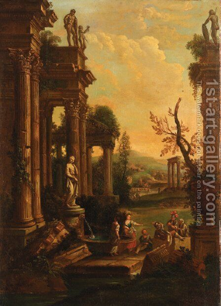 A classical landscape with soldiers and washerwomen resting by a fountain by (after) Pierre-Antoine Patel - Reproduction Oil Painting