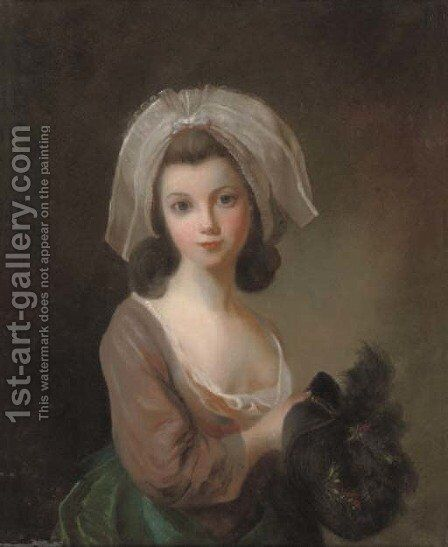 Portrait of a young lady by (after) Antoine Vestier - Reproduction Oil Painting