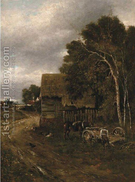 Unharnessing the cart at dusk by (after) Anton Mauve - Reproduction Oil Painting