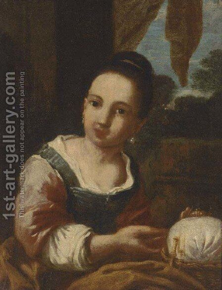 A seamstress by (after) Antonio Amorosi - Reproduction Oil Painting