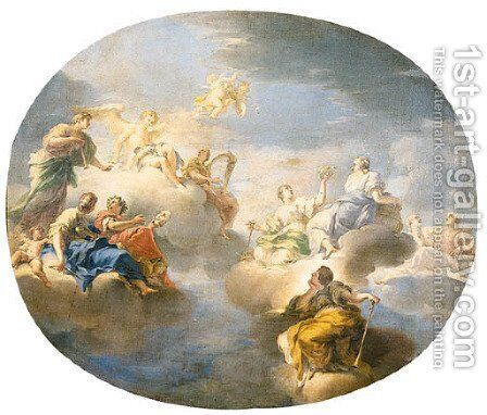Apollo accompanied by the Muses Urania by (after) Antonio Bellucci - Reproduction Oil Painting