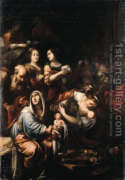The Birth of the Virgin by (after) Antonio Busca - Reproduction Oil Painting