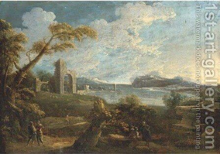 An Italianate landscape with figures on a track and classical ruins beyond by (after) Antonio Carlo Tavella, Il Solfarola - Reproduction Oil Painting