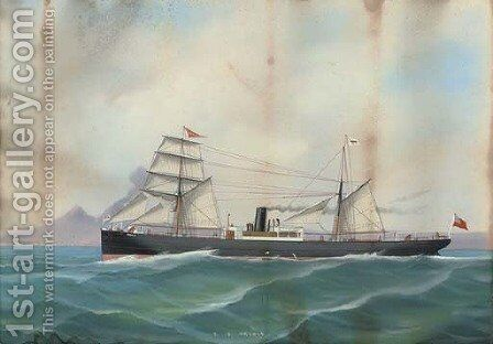 The S.S. Creole in Neapolitan waters by (after) Antonio De Simone - Reproduction Oil Painting