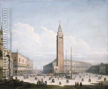 The Piazza San Marco and the Piazzetta, Venice, looking south-west from the Torre dell'Orologio, with St. Mark's Cathedral, the Doge's Palace by (after) Antonio Joli - Reproduction Oil Painting