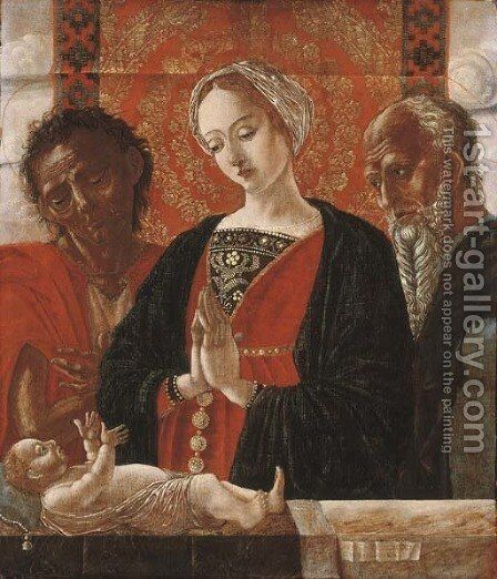 The Madonna and Child with Saint John the Baptist and another Saint by (after) Antonio Leonelli Da Crevalcore - Reproduction Oil Painting