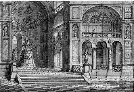 Two Stage Designs The Interior of a Palace by (after) Antonio Zucchi - Reproduction Oil Painting