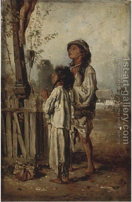 A prayer at the cross by (after) August Xaver Karl Von Pettenkofen - Reproduction Oil Painting