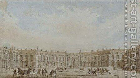 Mounted cavalry before a continental palace by (after) Pugin, Augustus Charles - Reproduction Oil Painting