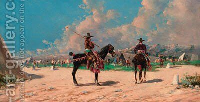 Spanish horsemen by an encampment by (after) Baldomer Galofre Gimenez - Reproduction Oil Painting