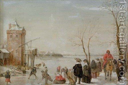 A winter landscape with kolf players by (after) Barent Avercamp Kampen - Reproduction Oil Painting