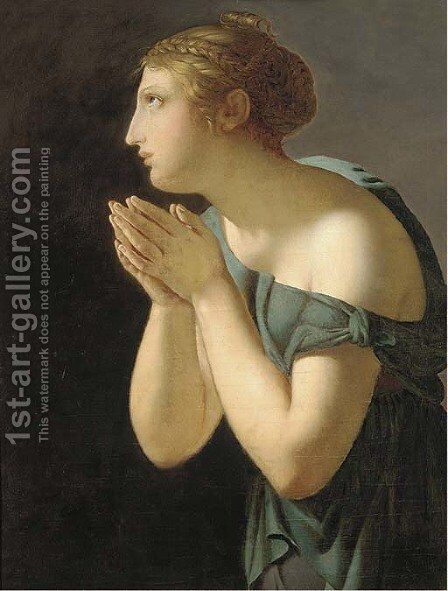 A Vestal Virgin by (after) Baron Jean-Baptiste Regnault - Reproduction Oil Painting