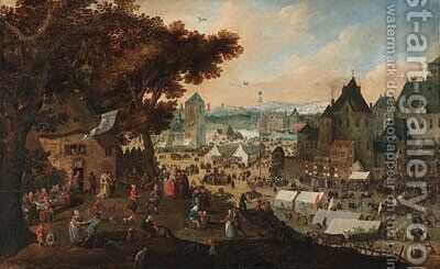 A town kermesse by (after) Bartholomeus Grondonck - Reproduction Oil Painting