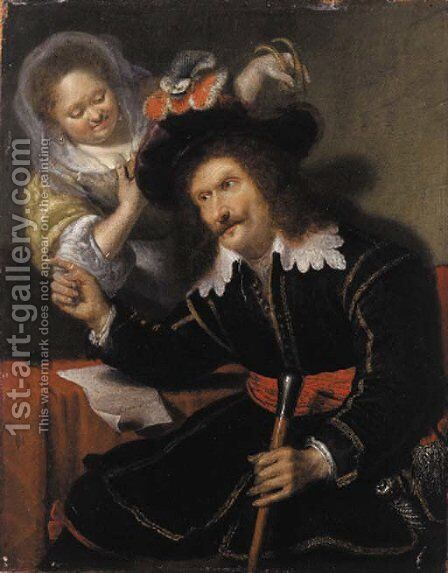 A gentleman in fancy dress by (after) Bartholomaus Maton - Reproduction Oil Painting