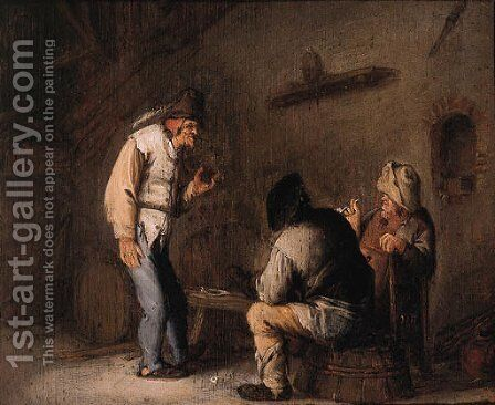 Boors drinking and smoking in a barn by (after) Bartholomeus Molenaer - Reproduction Oil Painting