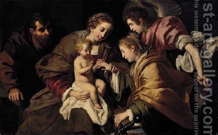 The Mystic Marriage of Saint Catherine of Alexandria by (after) Bartolomeo Cavarozzi - Reproduction Oil Painting