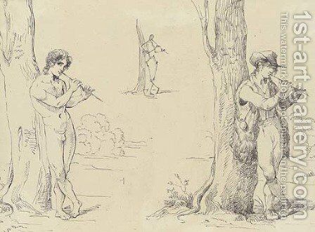 Three studies for a shepherd playing by (after) Bartolomeo Pinelli - Reproduction Oil Painting