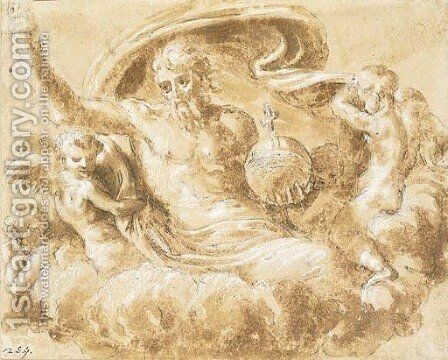 God the Father holding an orb, attended by angels by (after) Bartolommeo Ramenghi The Elder, Il Bagnacavallo - Reproduction Oil Painting