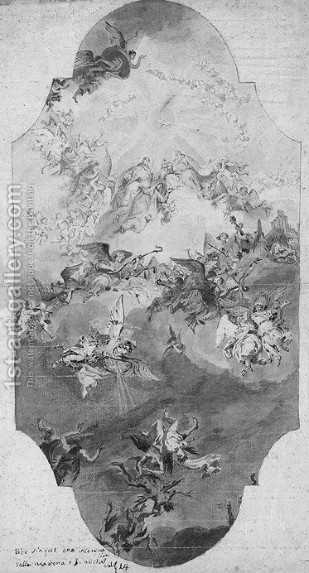 The Assumption of the Virgin with the Fall of the Rebel Angels A study for a ceiling decoration by (after) Bartolommeo Tarsia - Reproduction Oil Painting