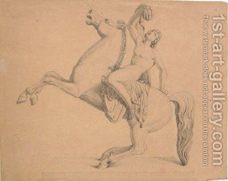 A nude astride a rearing horse, after a sculptural frieze by (after) Bertel Thorvaldsen - Reproduction Oil Painting