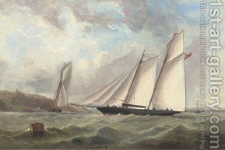 Racing schooners on opposite tacks and vying for position at the start in Osborne Bay by (after) Capt. John Haughton Forrest - Reproduction Oil Painting