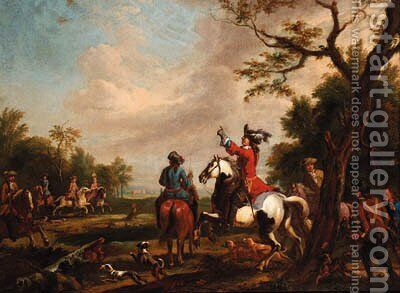 A hawking party in a landscape by (after) Carel Van Falens Or Valens - Reproduction Oil Painting