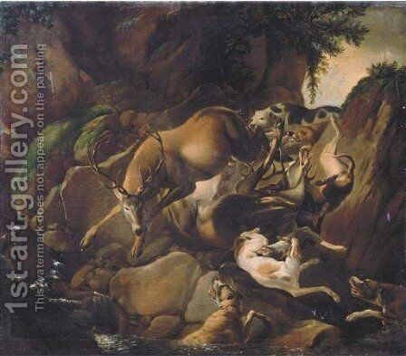 Hounds attacking two deer in a rocky river landscape by (after) Carl Borromaus Andreas Ruthart - Reproduction Oil Painting
