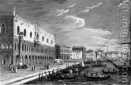 The Doge's Palace and the Riva degli Schiavoni by (after) Carlo Grubacs - Reproduction Oil Painting