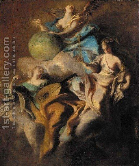 Personifications of Music, Astronomy and Rhetoric by (after) Carlo Innocenzo Carloni - Reproduction Oil Painting