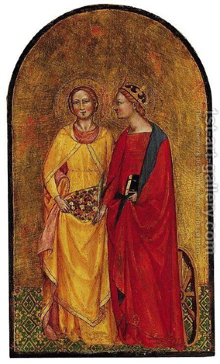 Saints Catherine and Dorothy by (after) Cenni Di Francesco Di Ser Cenni - Reproduction Oil Painting