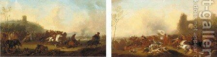 A military engagement between Christians and Turks; and A cavalry skirmish in a landscape by (after) Charles Parrocel - Reproduction Oil Painting