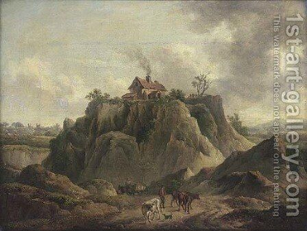 A drover and his cattle on a country road, a house on a hill top beyond by (after) Charles Towne - Reproduction Oil Painting