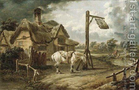 A horse tethered before an inn on a blustery day by (after) Charles Towne - Reproduction Oil Painting