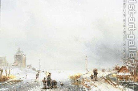 Skaters in a winter landscape by (after) Charles Henri Joseph Leickert - Reproduction Oil Painting