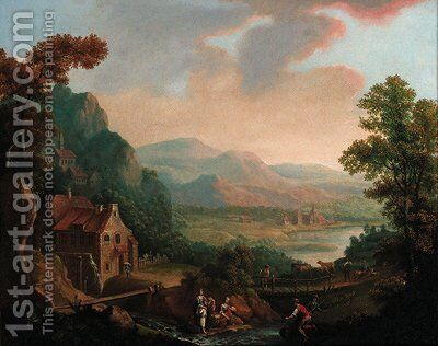 Figures before a river in an extensive landscape, a town beyond by (after) Christian Georg II Schutz Or Schuz - Reproduction Oil Painting