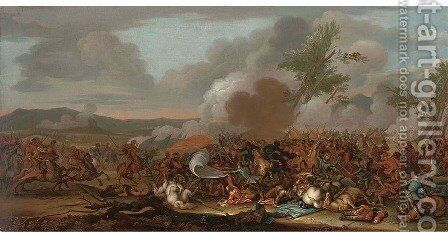 A cavalry battle by (after) Christian Reder - Reproduction Oil Painting