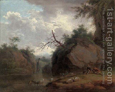 A wooded river landscape with shepherds and their flock by (after) Christian Wilhelm Ernst Dietrich - Reproduction Oil Painting
