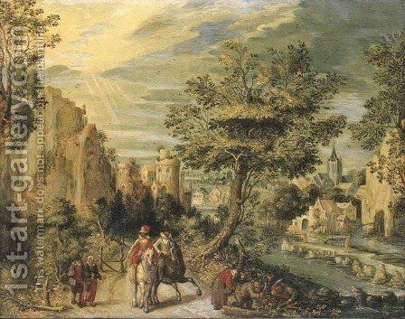 A rocky river landscape with horsemen by (after) Christoffel Van Den Berghe - Reproduction Oil Painting