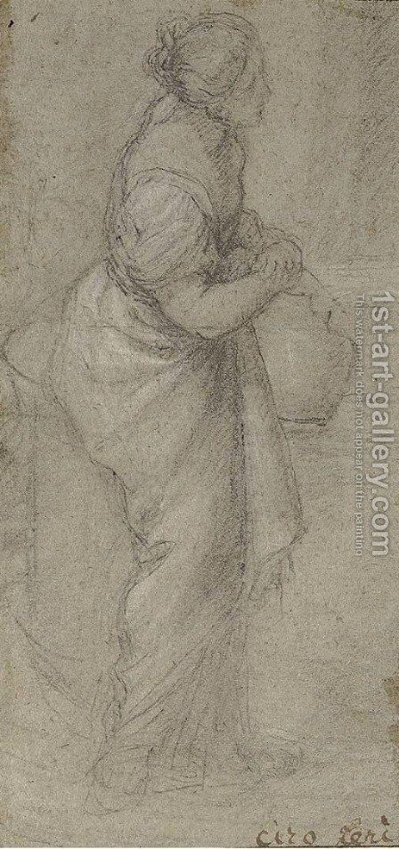 A standing woman holding a jug (recto); and A drapery study (verso) by (after) Ciro Ferri - Reproduction Oil Painting