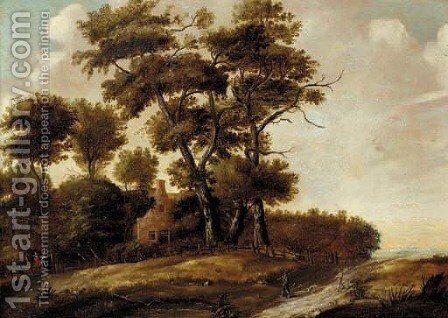 A wooded landscape with hunters and their dogs on a path, a house beyond by (after) Claes Jansz. Van Der Willigen - Reproduction Oil Painting