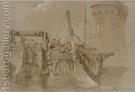 A harbour scene at Angers by (after) Clarkson Stanfield - Reproduction Oil Painting