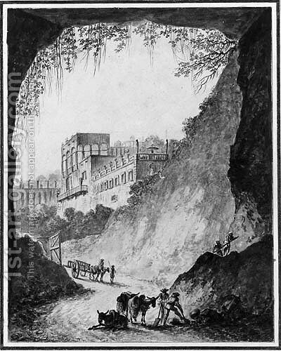 Workers and donkeys by a cave, a castle in the background by (after) Claude Louis Chatelet - Reproduction Oil Painting