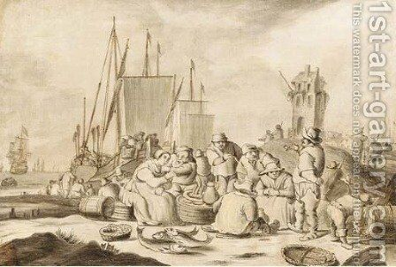 Merchants and other figures eating, drinking and smoking on a beach by (after) Cornelis Boumeester - Reproduction Oil Painting