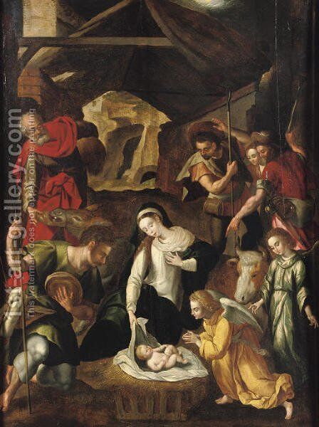 The Adoration of the Shepherds by (after) Cornelis De Baellieur I - Reproduction Oil Painting