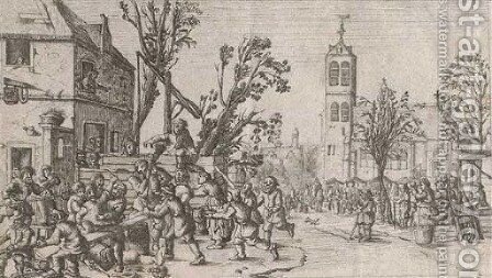 A festival in a market square by (after) Cornelis Droochsloot - Reproduction Oil Painting