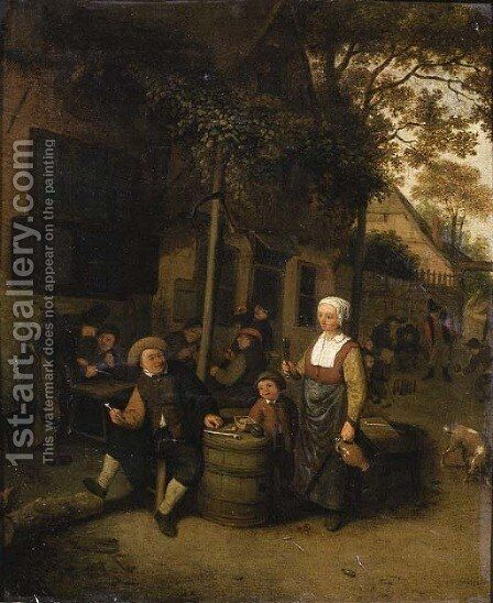 A maid serving a peasant seated by a barrel outside an inn by (after) Cornelis Dusart - Reproduction Oil Painting